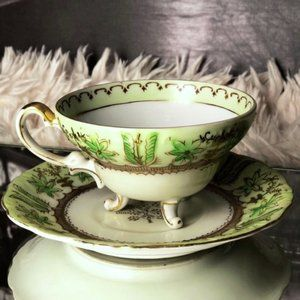 Vintage Japanese Green and Gold Teacup and Saucer